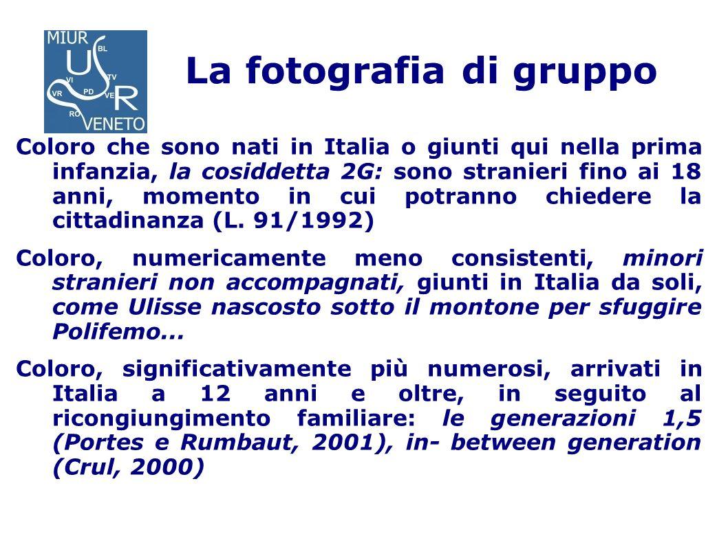 La fotografia di gruppo Coloro che sono nati in Italia o giunti qui nella prima infanzia, la cosiddetta 2G: sono stranieri fino ai 18 anni, momento in