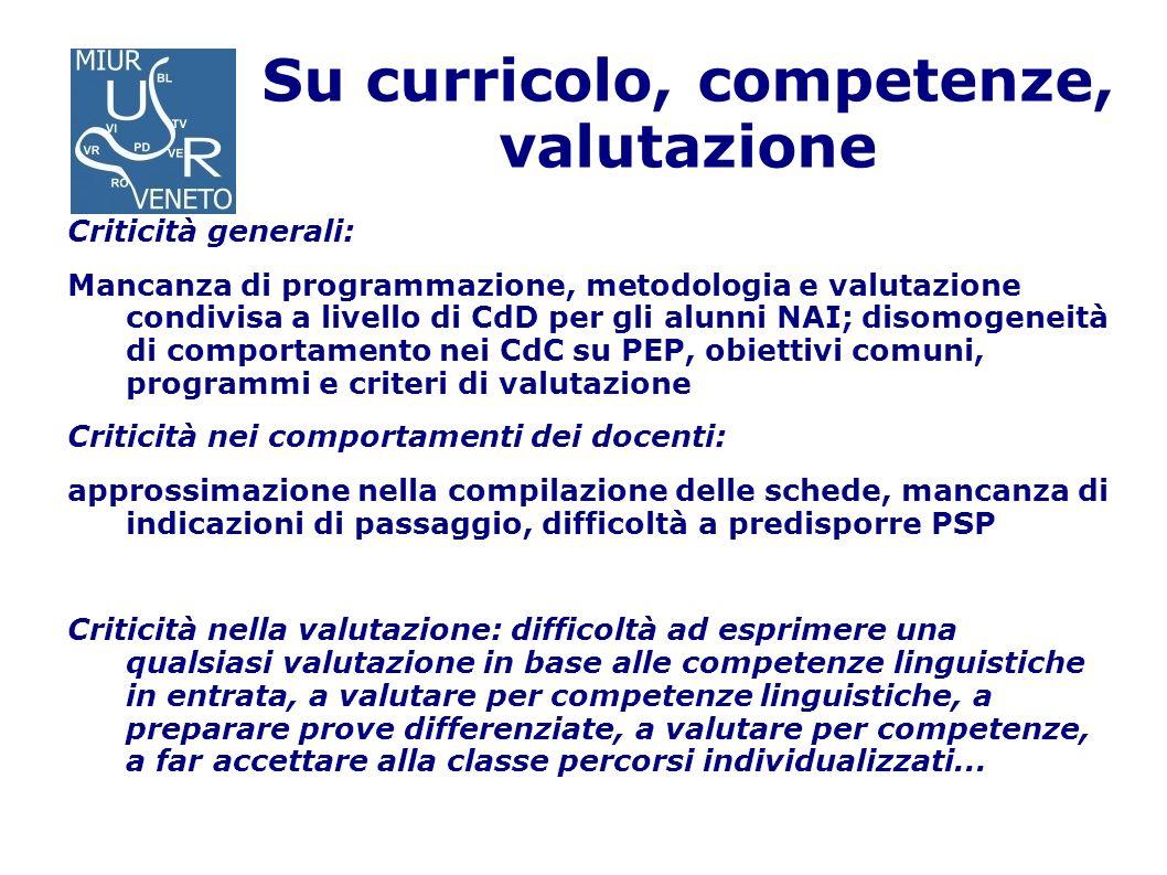 Su curricolo, competenze, valutazione Criticità generali: Mancanza di programmazione, metodologia e valutazione condivisa a livello di CdD per gli alu