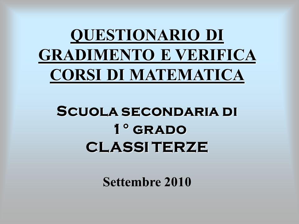QUESTIONARIO DI GRADIMENTO E VERIFICA CORSI DI MATEMATICA Scuola secondaria di 1° grado 1° grado CLASSI TERZE Settembre 2010
