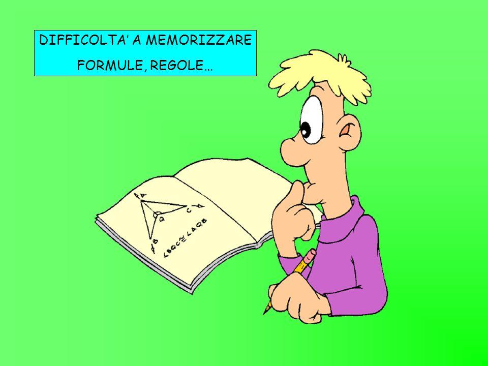 DIFFICOLTA A MEMORIZZARE FORMULE, REGOLE…