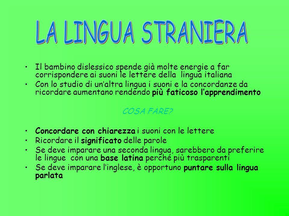 Il bambino dislessico spende già molte energie a far corrispondere ai suoni le lettere della lingua italiana Con lo studio di unaltra lingua i suoni e