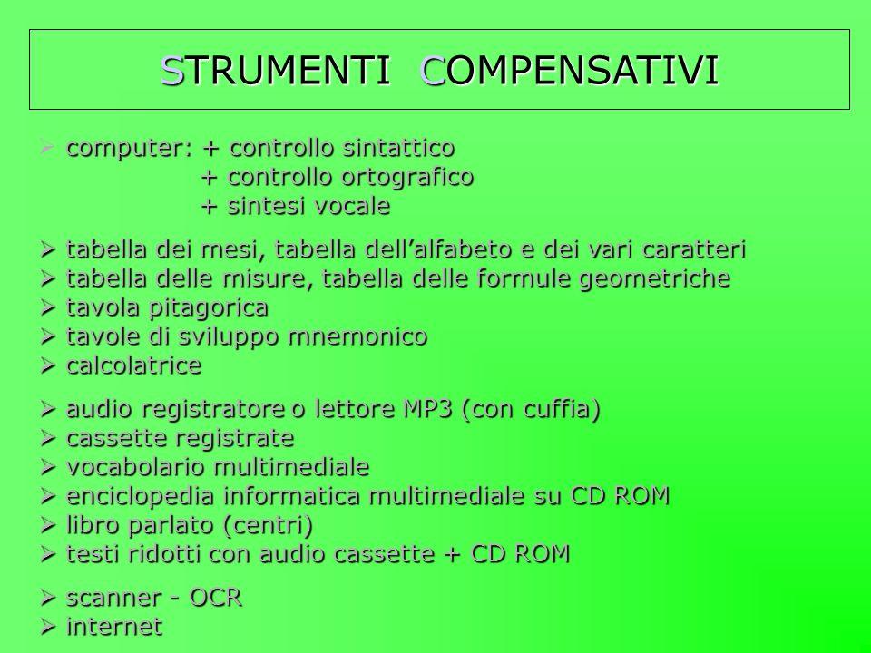 STRUMENTI COMPENSATIVI computer: + controllo sintattico + controllo ortografico + controllo ortografico + sintesi vocale + sintesi vocale tabella dei