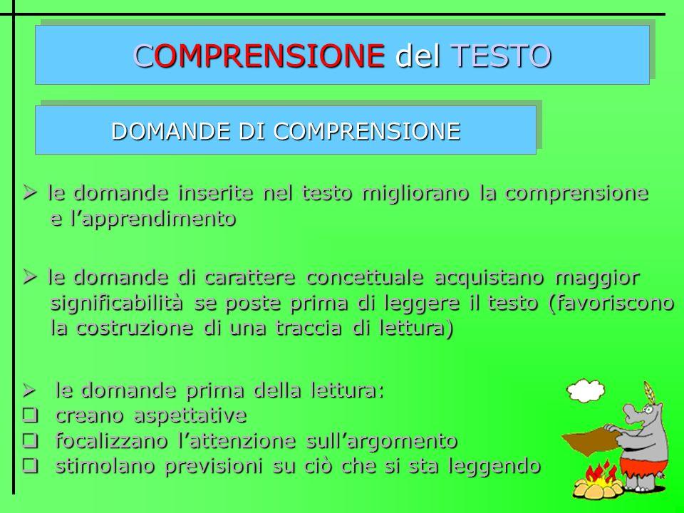 COMPRENSIONE del TESTO DOMANDE DI COMPRENSIONE l le domande inserite nel testo migliorano la comprensione e lapprendimento e domande di carattere conc