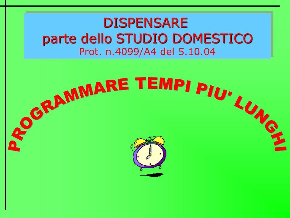 DISPENSARE parte dello STUDIO DOMESTICO Prot. n.4099/A4 del 5.10.04DISPENSARE parte dello STUDIO DOMESTICO Prot. n.4099/A4 del 5.10.04
