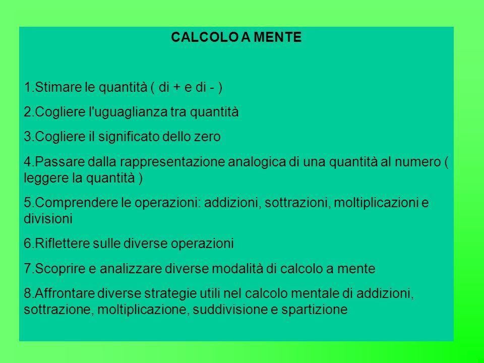 CALCOLO A MENTE 1.Stimare le quantità ( di + e di - ) 2.Cogliere l uguaglianza tra quantità 3.Cogliere il significato dello zero 4.Passare dalla rappresentazione analogica di una quantità al numero ( leggere la quantità ) 5.Comprendere le operazioni: addizioni, sottrazioni, moltiplicazioni e divisioni 6.Riflettere sulle diverse operazioni 7.Scoprire e analizzare diverse modalità di calcolo a mente 8.Affrontare diverse strategie utili nel calcolo mentale di addizioni, sottrazione, moltiplicazione, suddivisione e spartizione