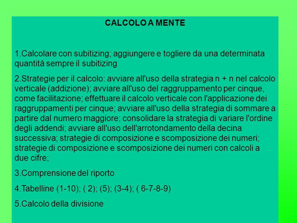 CALCOLO A MENTE 1.Calcolare con subitizing; aggiungere e togliere da una determinata quantità sempre il subitizing 2.Strategie per il calcolo: avviare all uso della strategia n + n nel calcolo verticale (addizione); avviare all uso del raggruppamento per cinque, come facilitazione; effettuare il calcolo verticale con l applicazione dei raggruppamenti per cinque; avviare all uso della strategia di sommare a partire dal numero maggiore; consolidare la strategia di variare l ordine degli addendi; avviare all uso dell arrotondamento della decina successiva; strategie di composizione e scomposizione dei numeri; strategie di composizione e scomposizione dei numeri con calcoli a due cifre; 3.Comprensione del riporto 4.Tabelline (1-10); ( 2); (5); (3-4); ( 6-7-8-9) 5.Calcolo della divisione