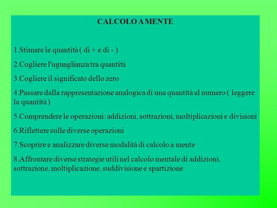 CALCOLO A MENTE 1.Stimare le quantità ( di + e di - ) 2.Cogliere l'uguaglianza tra quantità 3.Cogliere il significato dello zero 4.Passare dalla rappr