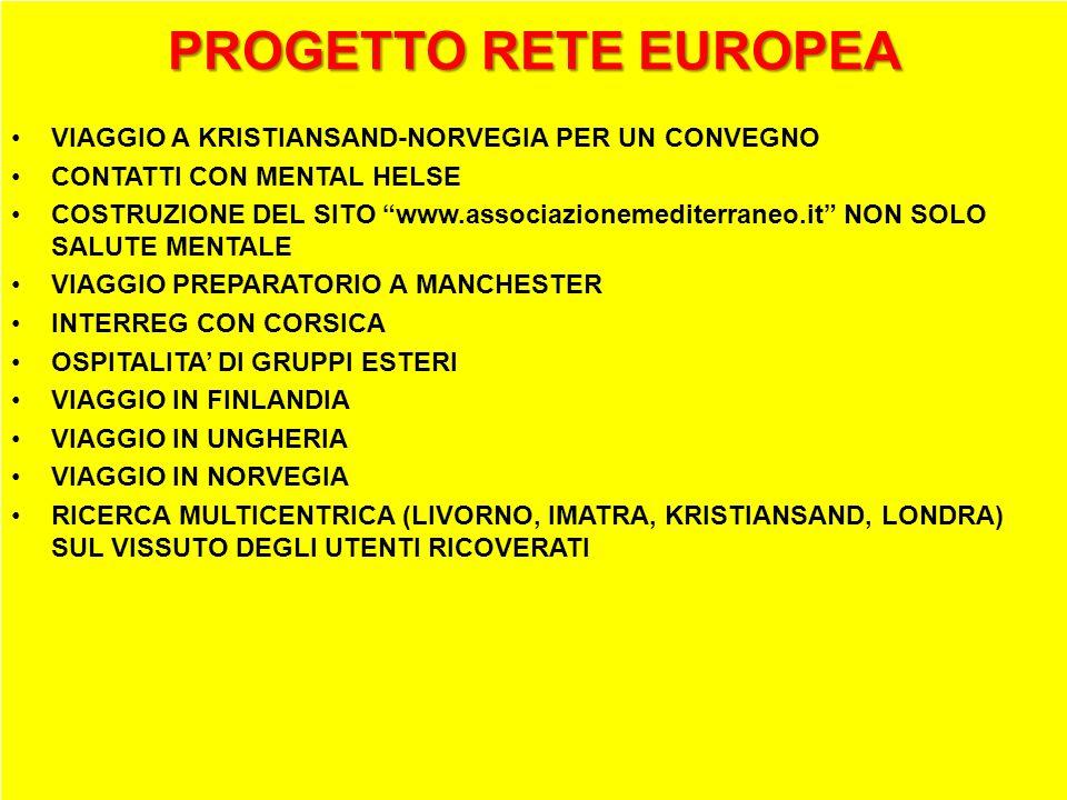 PROGETTO RETE EUROPEA VIAGGIO A KRISTIANSAND-NORVEGIA PER UN CONVEGNO CONTATTI CON MENTAL HELSE COSTRUZIONE DEL SITO www.associazionemediterraneo.it NON SOLO SALUTE MENTALE VIAGGIO PREPARATORIO A MANCHESTER INTERREG CON CORSICA OSPITALITA DI GRUPPI ESTERI VIAGGIO IN FINLANDIA VIAGGIO IN UNGHERIA VIAGGIO IN NORVEGIA RICERCA MULTICENTRICA (LIVORNO, IMATRA, KRISTIANSAND, LONDRA) SUL VISSUTO DEGLI UTENTI RICOVERATI