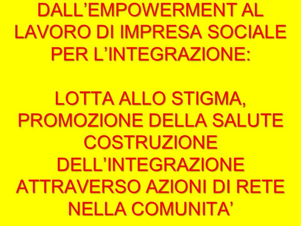 DALLEMPOWERMENT AL LAVORO DI IMPRESA SOCIALE PER LINTEGRAZIONE: LOTTA ALLO STIGMA, PROMOZIONE DELLA SALUTE COSTRUZIONE DELLINTEGRAZIONE ATTRAVERSO AZIONI DI RETE NELLA COMUNITA