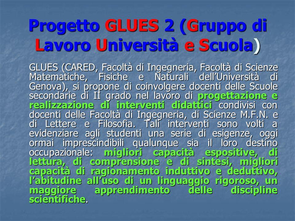 Progetto GLUES 2 (Gruppo di Lavoro Università e Scuola) GLUES (CARED, Facoltà di Ingegneria, Facoltà di Scienze Matematiche, Fisiche e Naturali dellUniversità di Genova), si propone di coinvolgere docenti delle Scuole secondarie di II grado nel lavoro di progettazione e realizzazione di interventi didattici condivisi con docenti delle Facoltà di Ingegneria, di Scienze M.F.N.