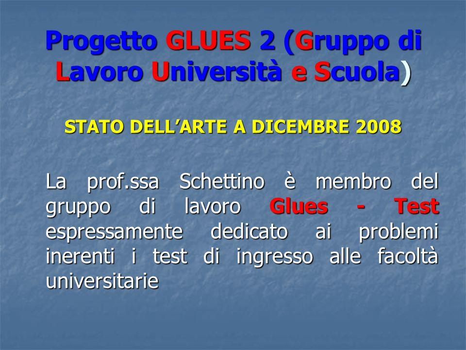 Progetto GLUES 2 (Gruppo di Lavoro Università e Scuola) STATO DELLARTE A DICEMBRE 2008 La prof.ssa Schettino è membro del gruppo di lavoro Glues - Test espressamente dedicato ai problemi inerenti i test di ingresso alle facoltà universitarie