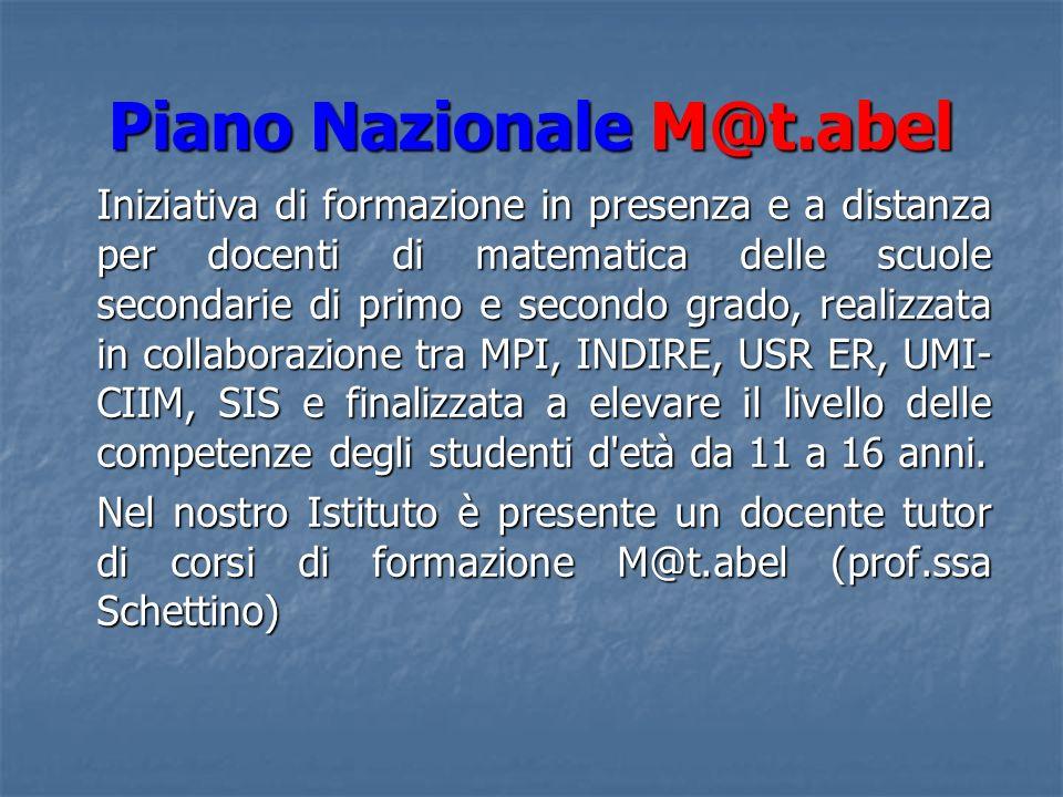 Piano Nazionale M@t.abel STATO DELLARTE A DICEMBRE 2008 La prof.ssa Alberta Schettino è stata individuata dallU.S.R.