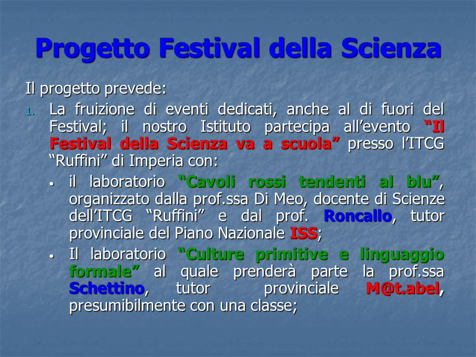 Progetto Festival della Scienza Il progetto prevede: 1. La fruizione di eventi dedicati, anche al di fuori del Festival; il nostro Istituto partecipa