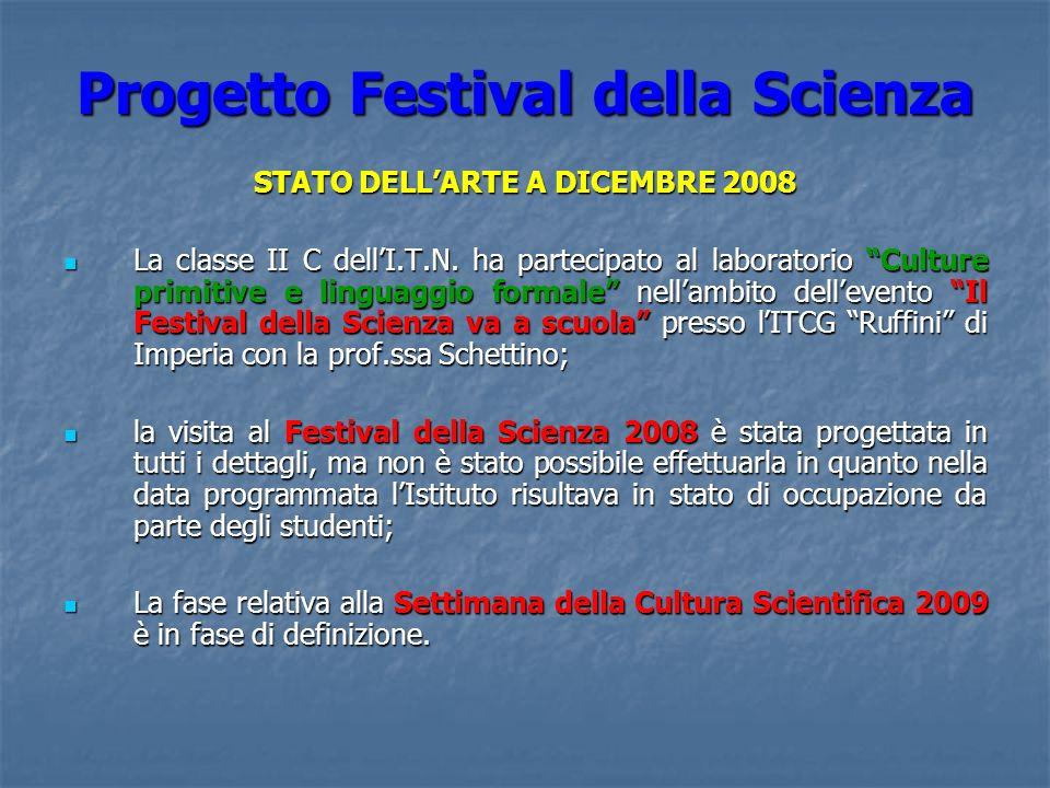Progetto Festival della Scienza STATO DELLARTE A DICEMBRE 2008 La classe II C dellI.T.N. ha partecipato al laboratorio Culture primitive e linguaggio