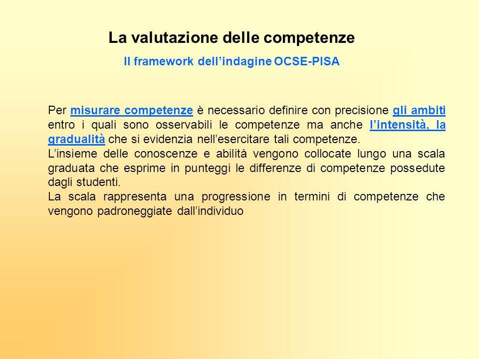 Il framework dellindagine OCSE-PISA Per misurare competenze è necessario definire con precisione gli ambiti entro i quali sono osservabili le competen