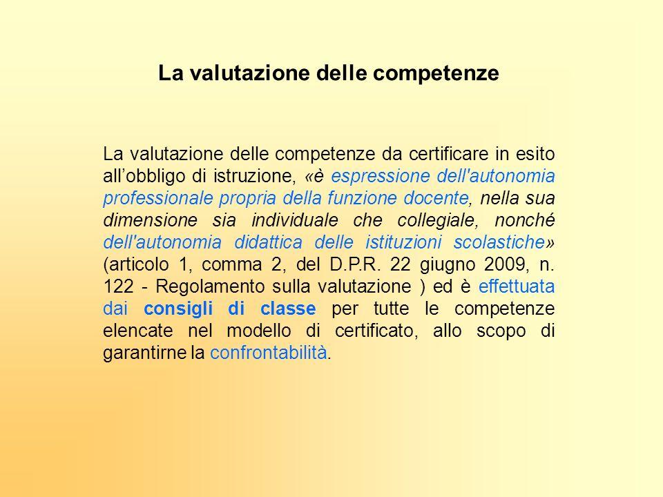 La valutazione delle competenze da certificare in esito allobbligo di istruzione, «è espressione dell'autonomia professionale propria della funzione d