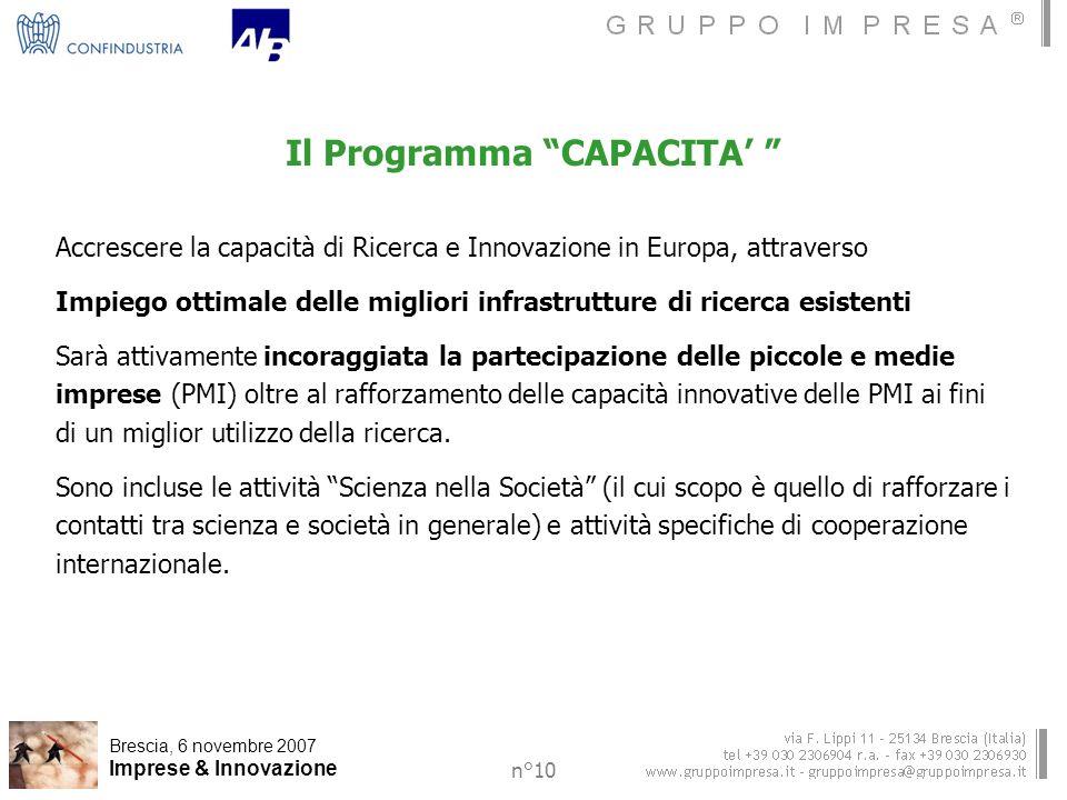 Brescia, 6 novembre 2007 Imprese & Innovazione n°10 Il Programma CAPACITA Accrescere la capacità di Ricerca e Innovazione in Europa, attraverso Impiego ottimale delle migliori infrastrutture di ricerca esistenti Sarà attivamente incoraggiata la partecipazione delle piccole e medie imprese (PMI) oltre al rafforzamento delle capacità innovative delle PMI ai fini di un miglior utilizzo della ricerca.