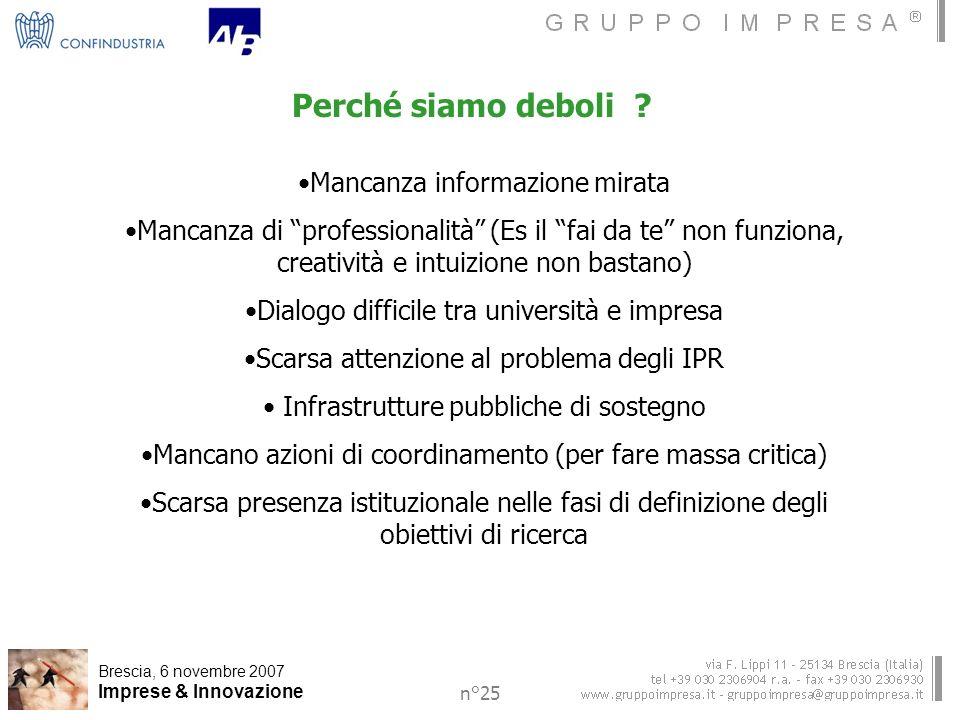 Brescia, 6 novembre 2007 Imprese & Innovazione n°25 Perché siamo deboli .