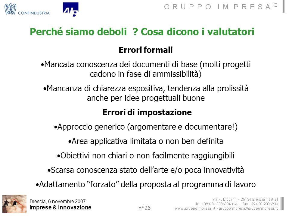 Brescia, 6 novembre 2007 Imprese & Innovazione n°26 Perché siamo deboli .