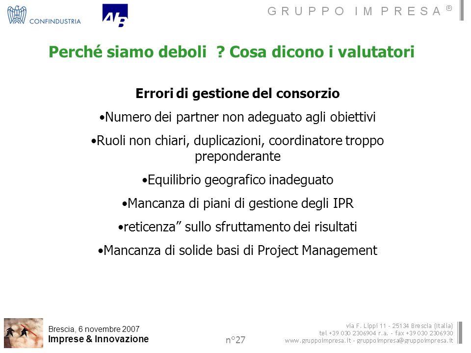 Brescia, 6 novembre 2007 Imprese & Innovazione n°27 Perché siamo deboli .