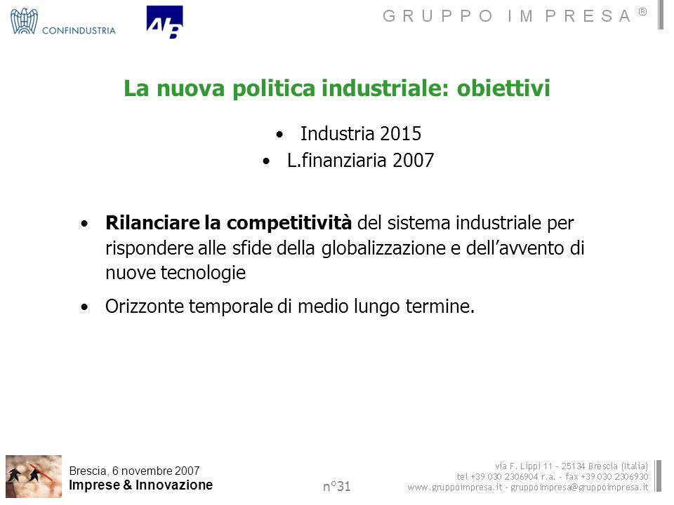 Brescia, 6 novembre 2007 Imprese & Innovazione n°31 La nuova politica industriale: obiettivi Industria 2015 L.finanziaria 2007 Rilanciare la competitività del sistema industriale per rispondere alle sfide della globalizzazione e dellavvento di nuove tecnologie Orizzonte temporale di medio lungo termine.