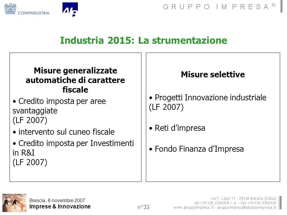 Brescia, 6 novembre 2007 Imprese & Innovazione n°33 Industria 2015: La strumentazione Misure generalizzate automatiche di carattere fiscale Credito imposta per aree svantaggiate (LF 2007) intervento sul cuneo fiscale Credito imposta per Investimenti in R&I (LF 2007) Misure selettive Progetti Innovazione industriale (LF 2007) Reti dimpresa Fondo Finanza dImpresa