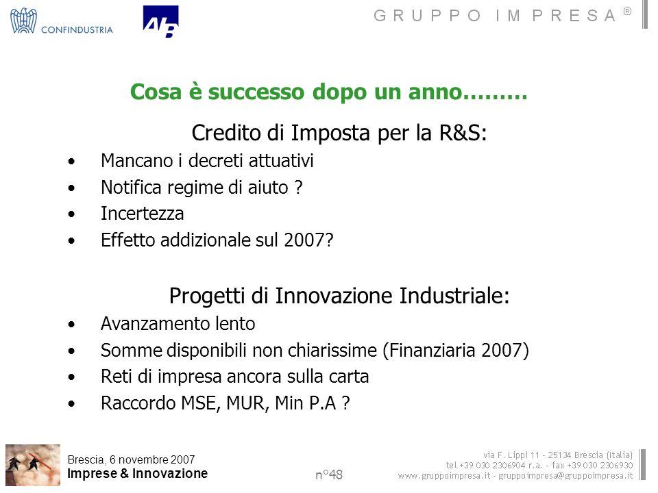Brescia, 6 novembre 2007 Imprese & Innovazione n°48 Cosa è successo dopo un anno……… Credito di Imposta per la R&S: Mancano i decreti attuativi Notifica regime di aiuto .
