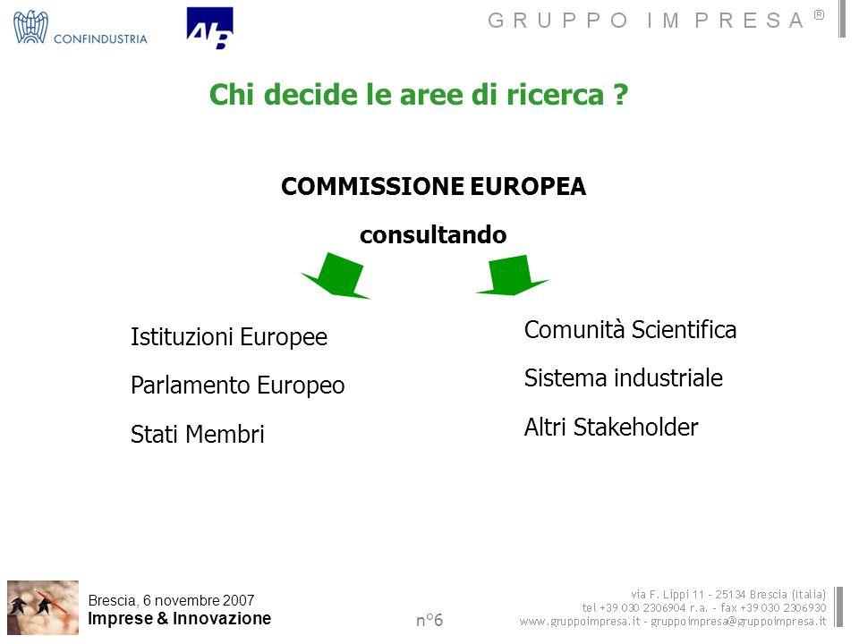 Brescia, 6 novembre 2007 Imprese & Innovazione n°6 Chi decide le aree di ricerca .
