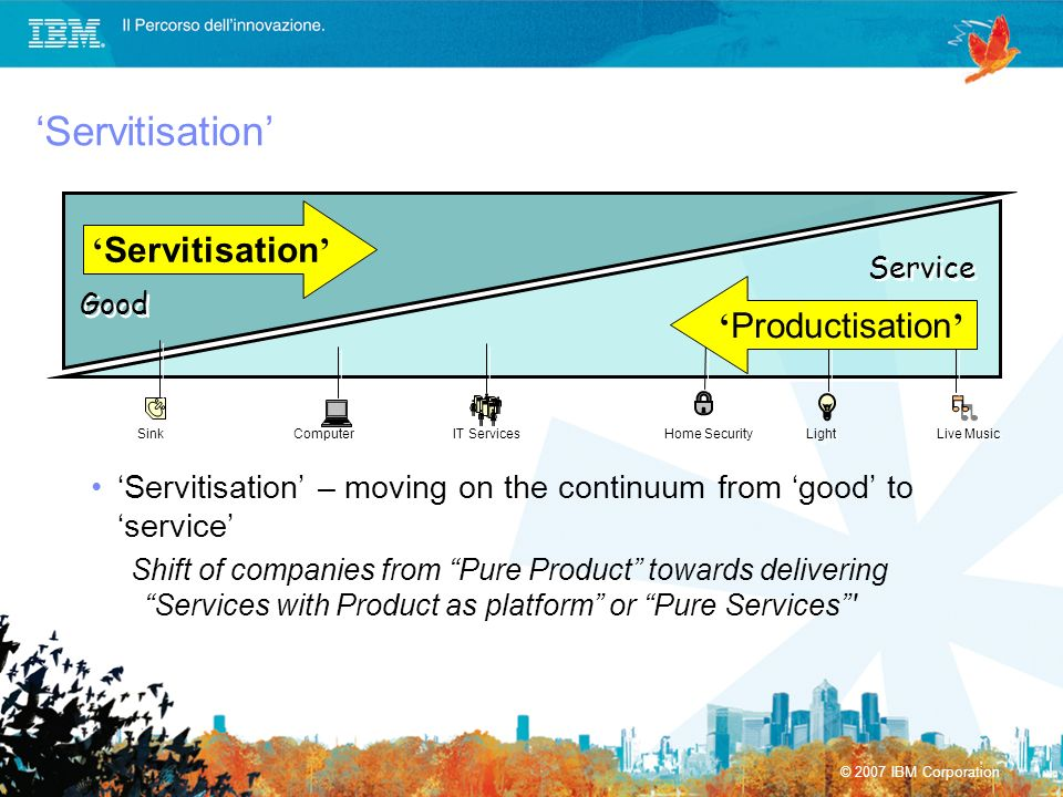 © 2007 IBM Corporation Servitisation Servitisation – moving on the continuum from good to service Shift of companies from Pure Product towards deliver