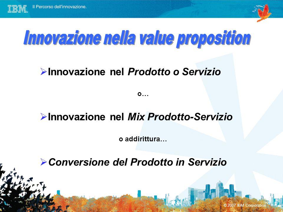 © 2007 IBM Corporation Innovazione nel Prodotto o Servizio o… Innovazione nel Mix Prodotto-Servizio o addirittura… Conversione del Prodotto in Servizi