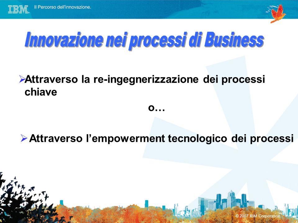 © 2007 IBM Corporation Attraverso la re-ingegnerizzazione dei processi chiave o… Attraverso lempowerment tecnologico dei processi