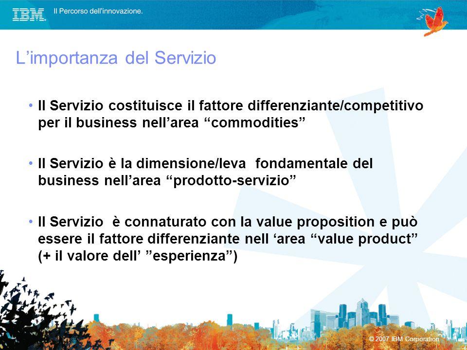 © 2007 IBM Corporation Limportanza del Servizio Il Servizio costituisce il fattore differenziante/competitivo per il business nellarea commodities Il