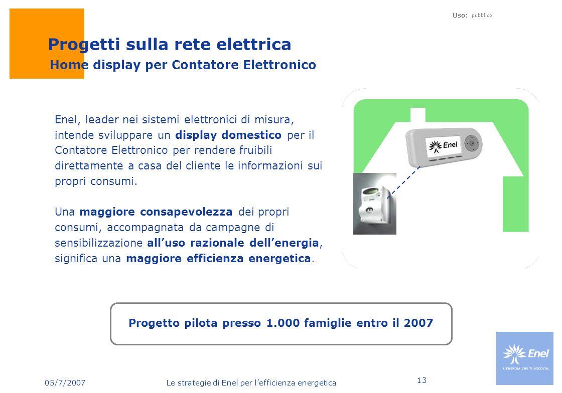 05/7/2007 Le strategie di Enel per lefficienza energetica Uso: pubblico 13 Enel, leader nei sistemi elettronici di misura, intende sviluppare un displ
