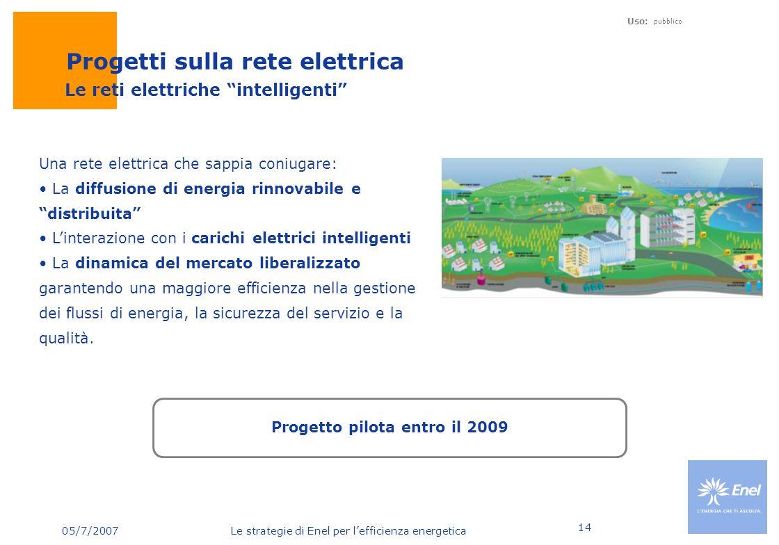 05/7/2007 Le strategie di Enel per lefficienza energetica Uso: pubblico 14 Una rete elettrica che sappia coniugare: La diffusione di energia rinnovabi