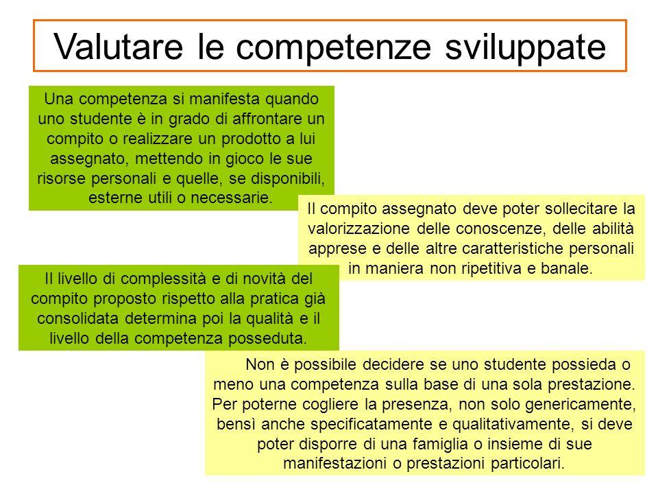 Non è possibile decidere se uno studente possieda o meno una competenza sulla base di una sola prestazione.