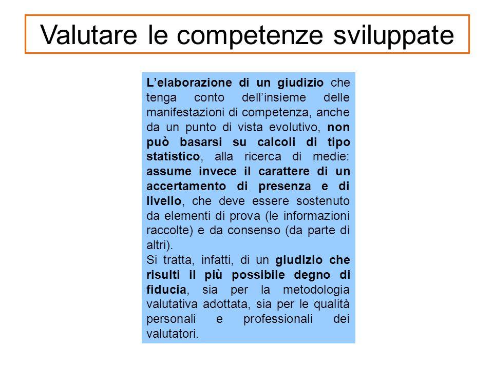 Valutare le competenze sviluppate Lelaborazione di un giudizio che tenga conto dellinsieme delle manifestazioni di competenza, anche da un punto di vi