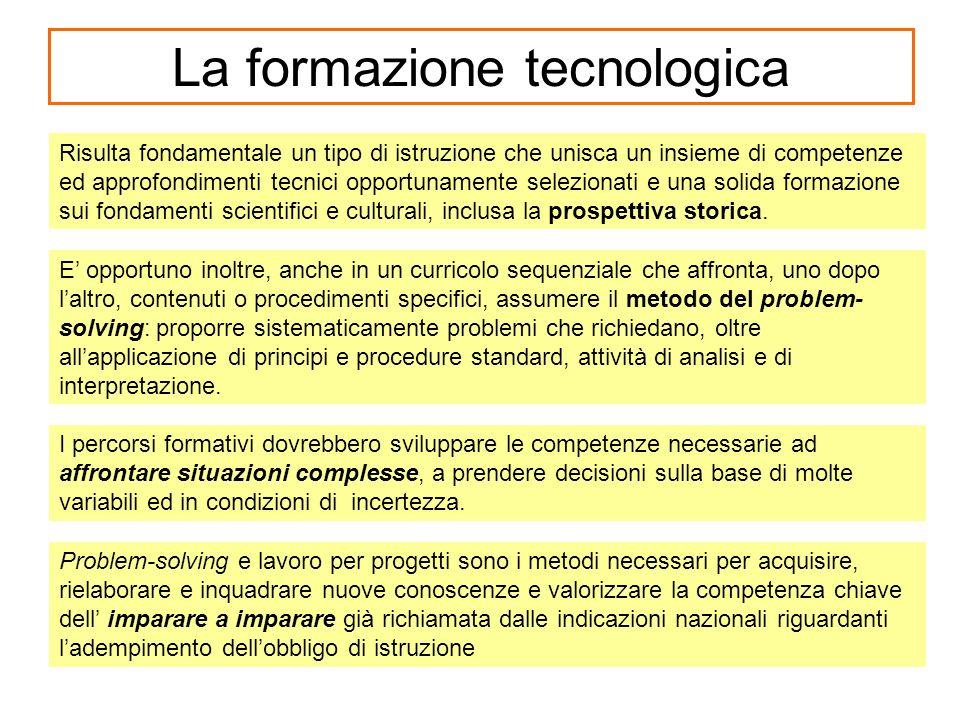 La formazione tecnologica Risulta fondamentale un tipo di istruzione che unisca un insieme di competenze ed approfondimenti tecnici opportunamente sel