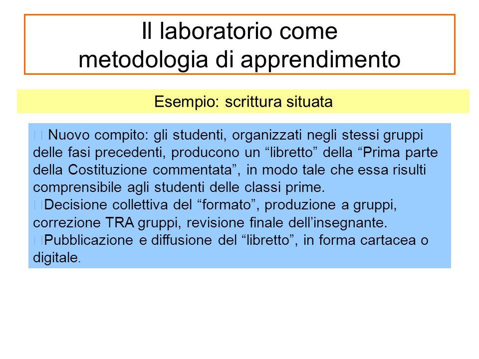 Il laboratorio come metodologia di apprendimento Nuovo compito: gli studenti, organizzati negli stessi gruppi delle fasi precedenti, producono un libr