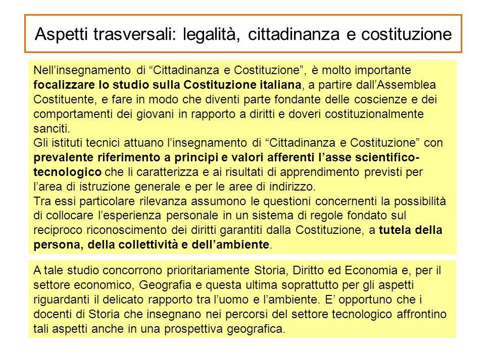 Aspetti trasversali: legalità, cittadinanza e costituzione Nellinsegnamento di Cittadinanza e Costituzione, è molto importante focalizzare lo studio s