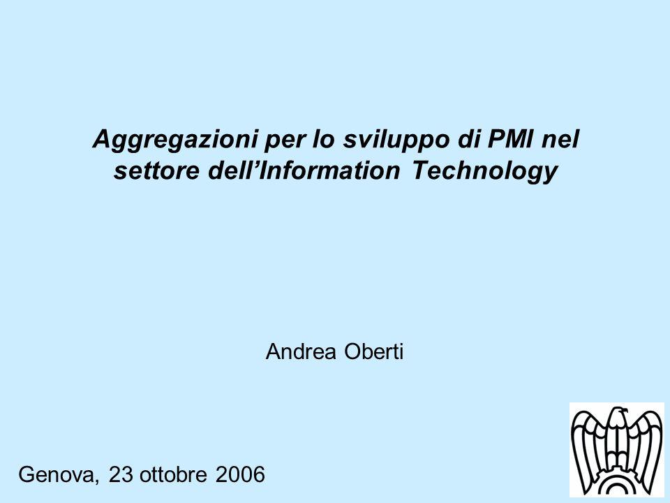 Aggregazioni per lo sviluppo di PMI nel settore dellInformation Technology Andrea Oberti Genova, 23 ottobre 2006