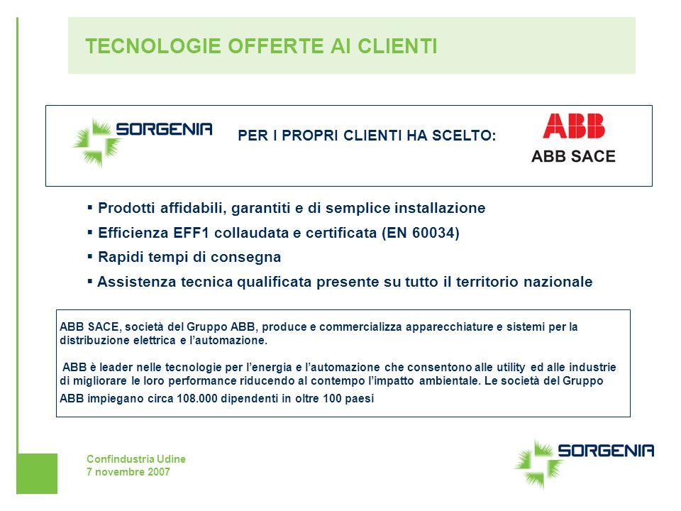 Confindustria Udine 7 novembre 2007 TECNOLOGIE OFFERTE AI CLIENTI Prodotti affidabili, garantiti e di semplice installazione Efficienza EFF1 collaudat