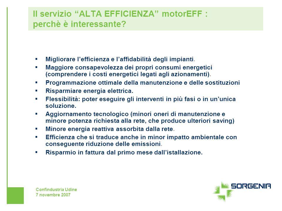 Confindustria Udine 7 novembre 2007 Migliorare lefficienza e laffidabilità degli impianti. Maggiore consapevolezza dei propri consumi energetici (comp