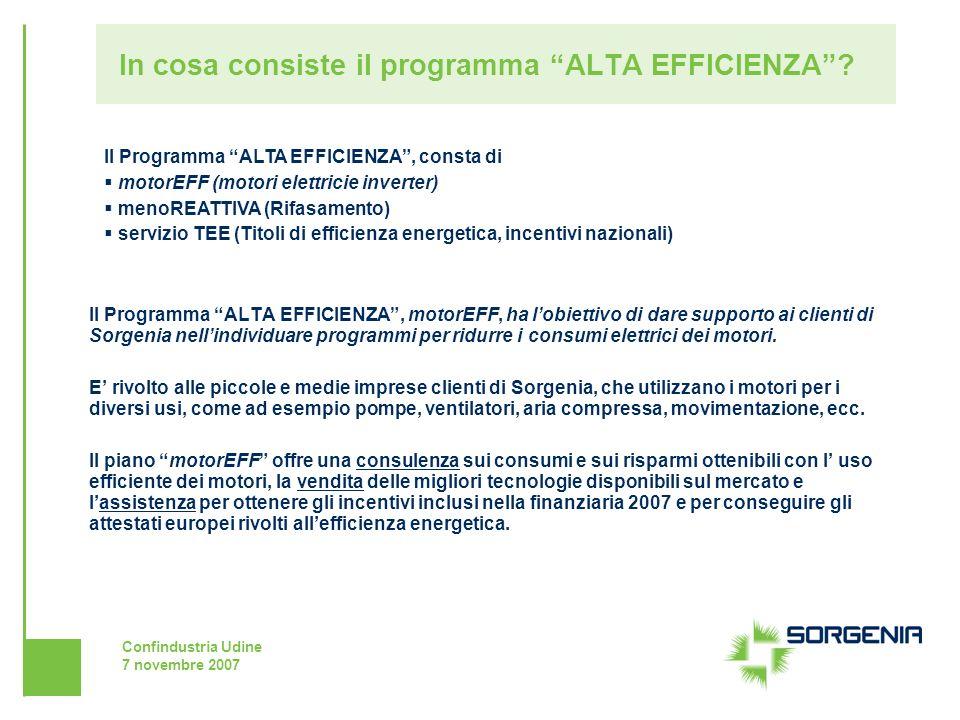 Confindustria Udine 7 novembre 2007 In cosa consiste il programma ALTA EFFICIENZA? Il Programma ALTA EFFICIENZA, motorEFF, ha lobiettivo di dare suppo