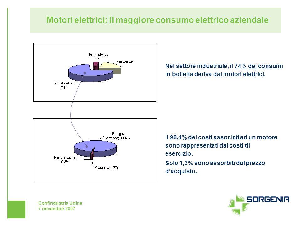 Confindustria Udine 7 novembre 2007 Motori elettrici: il maggiore consumo elettrico aziendale Nel settore industriale, il 74% dei consumi in bolletta