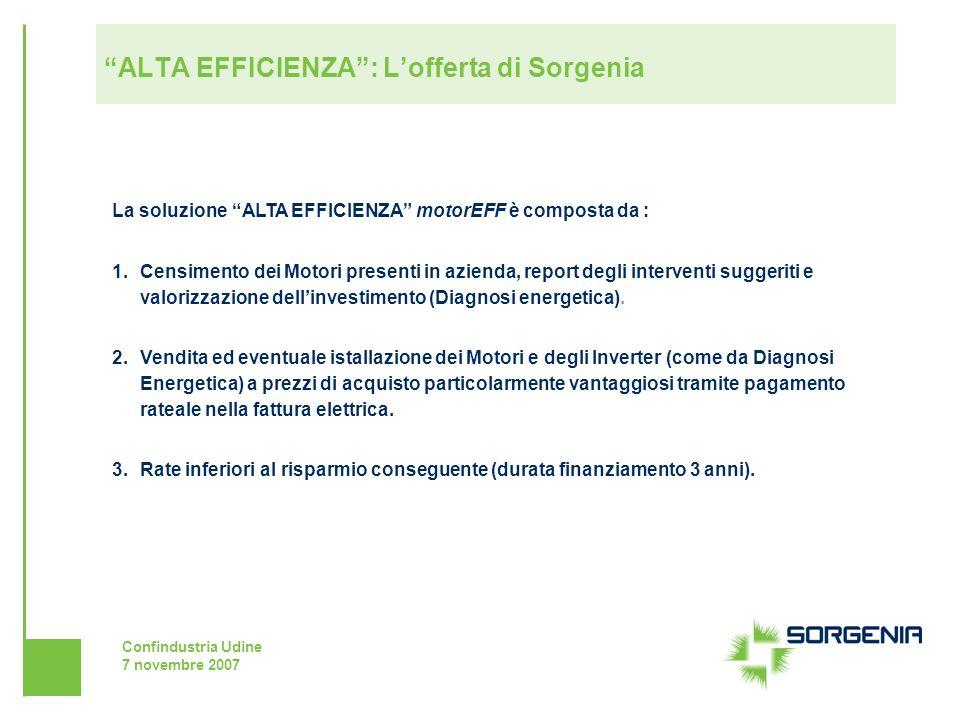Confindustria Udine 7 novembre 2007 ALTA EFFICIENZA: Lofferta di Sorgenia La soluzione ALTA EFFICIENZA motorEFF è composta da : 1.Censimento dei Motor