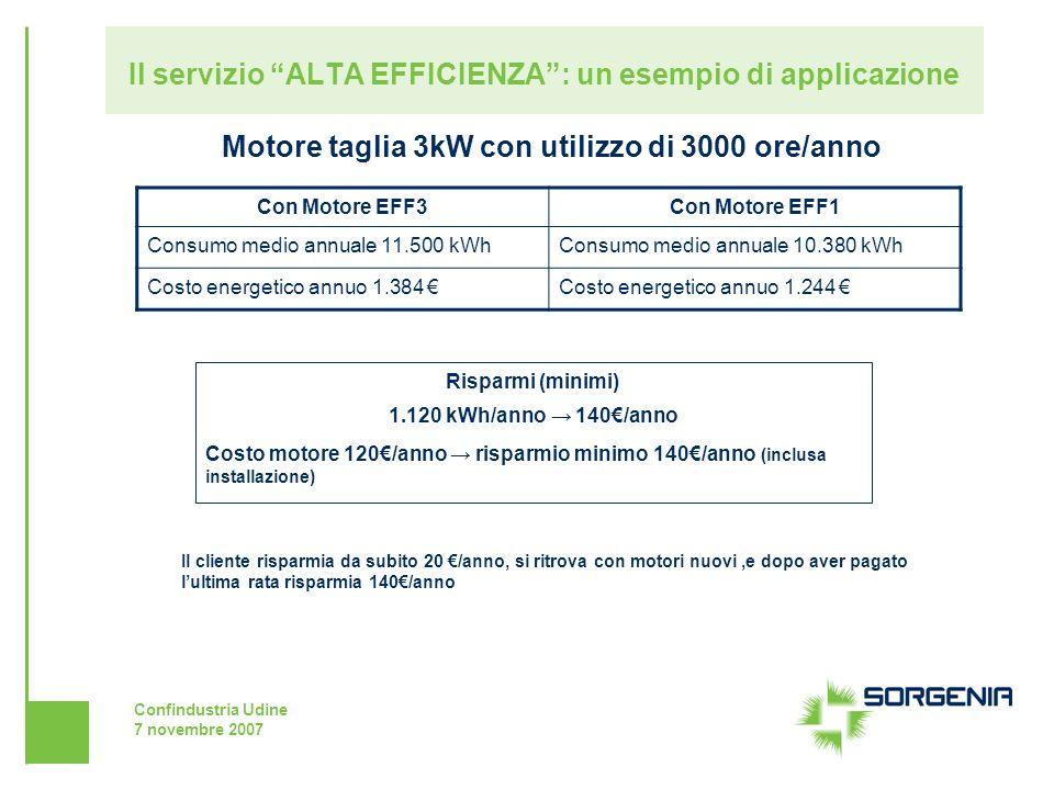Confindustria Udine 7 novembre 2007 Il servizio ALTA EFFICIENZA: un esempio di applicazione Motore taglia 3kW con utilizzo di 3000 ore/anno Con Motore