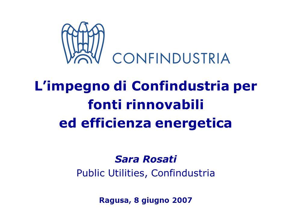1 Limpegno di Confindustria per fonti rinnovabili ed efficienza energetica Sara Rosati Public Utilities, Confindustria Ragusa, 8 giugno 2007