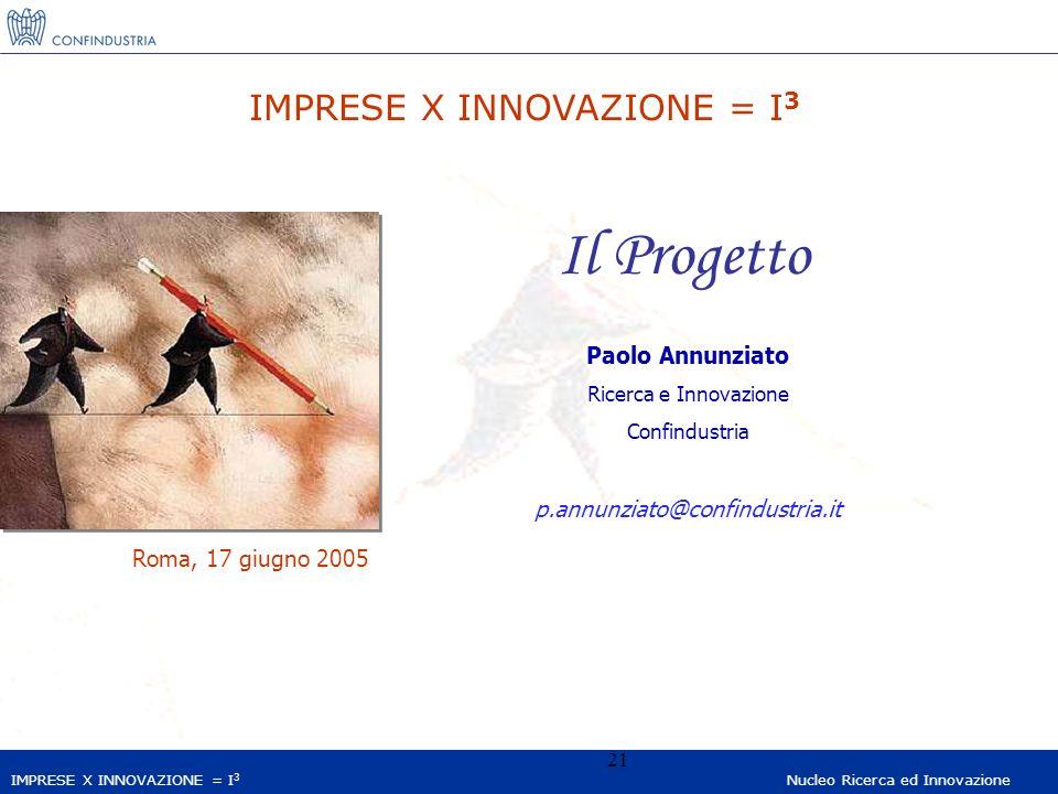 IMPRESE X INNOVAZIONE = I 3 Nucleo Ricerca ed Innovazione 21 IMPRESE X INNOVAZIONE = I 3 Il Progetto Paolo Annunziato Ricerca e Innovazione Confindustria p.annunziato@confindustria.it Roma, 17 giugno 2005