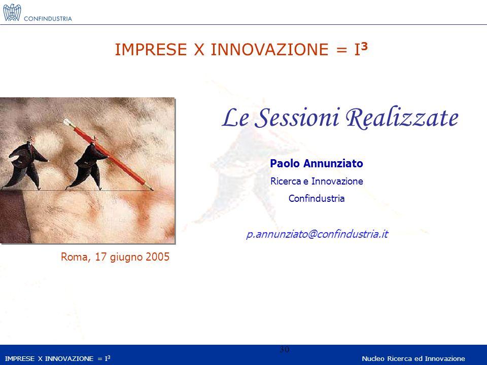 IMPRESE X INNOVAZIONE = I 3 Nucleo Ricerca ed Innovazione 30 IMPRESE X INNOVAZIONE = I 3 Le Sessioni Realizzate Paolo Annunziato Ricerca e Innovazione Confindustria p.annunziato@confindustria.it Roma, 17 giugno 2005