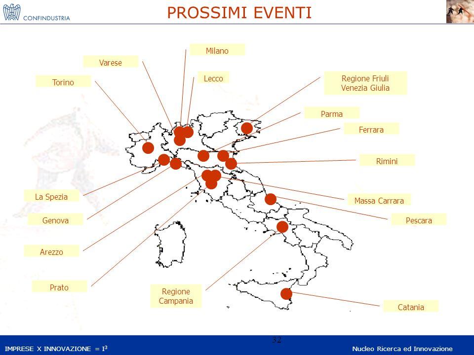 IMPRESE X INNOVAZIONE = I 3 Nucleo Ricerca ed Innovazione 32 PROSSIMI EVENTI Varese Milano Genova La Spezia Torino Arezzo Prato Pescara Ferrara Catani